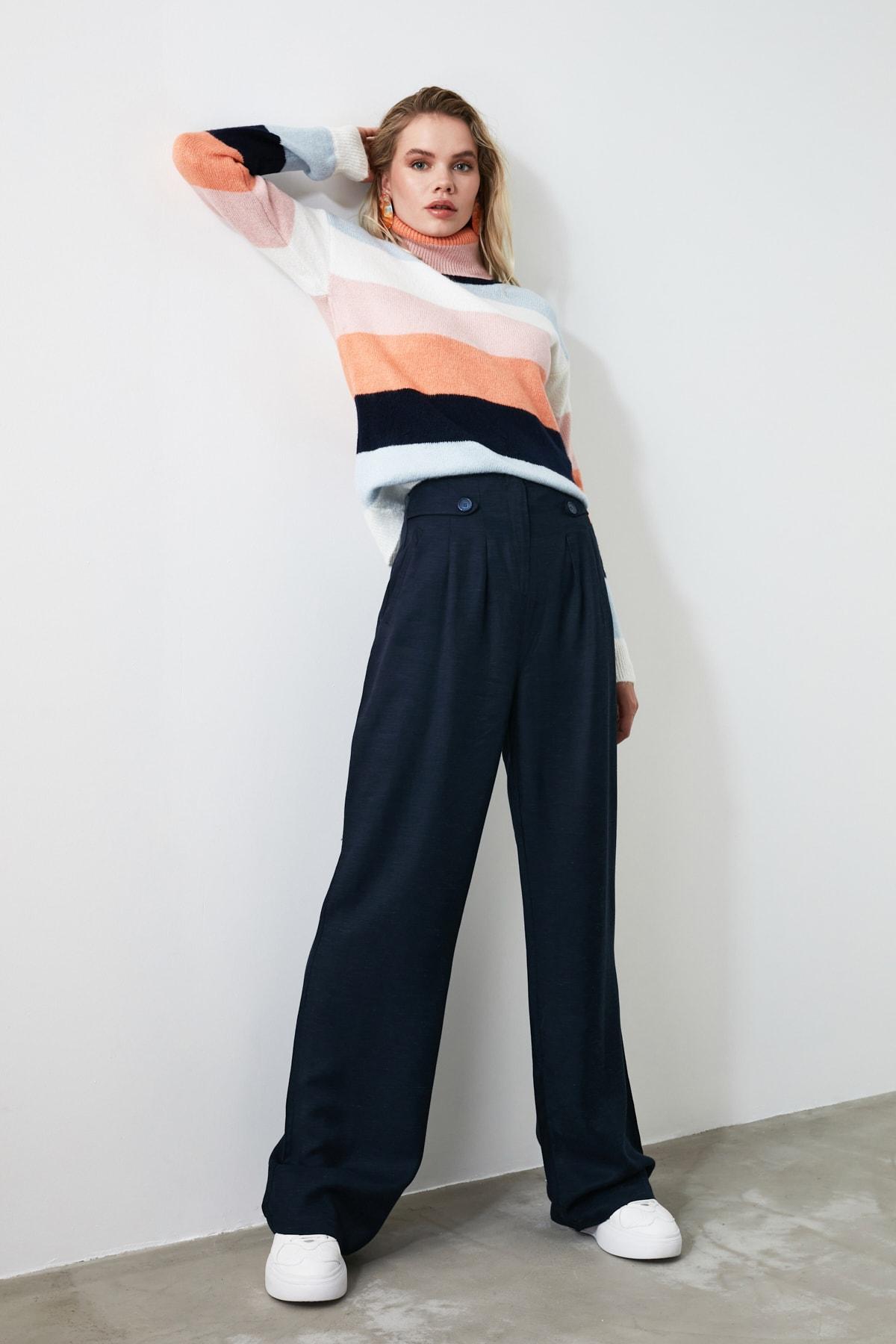 TRENDYOLMİLLA Lacivert Düğme Detaylı Pantolon TWOAW21PL0027 2