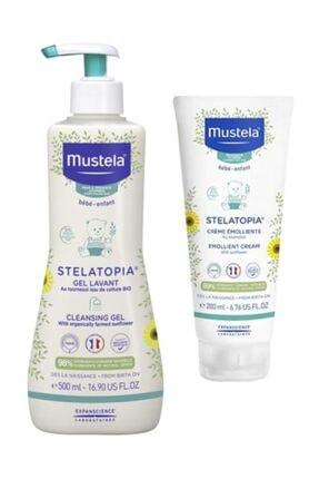 Mustela Stelatopia Bakım Seti    Stelatopia Cleansing Cream 500ml + Emollient Cream 200ml     Orijinal Boy