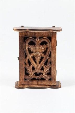 Hediyeciniz Ahşap Kutu Anahtarlık 22.5 cm Kalp Figürlü