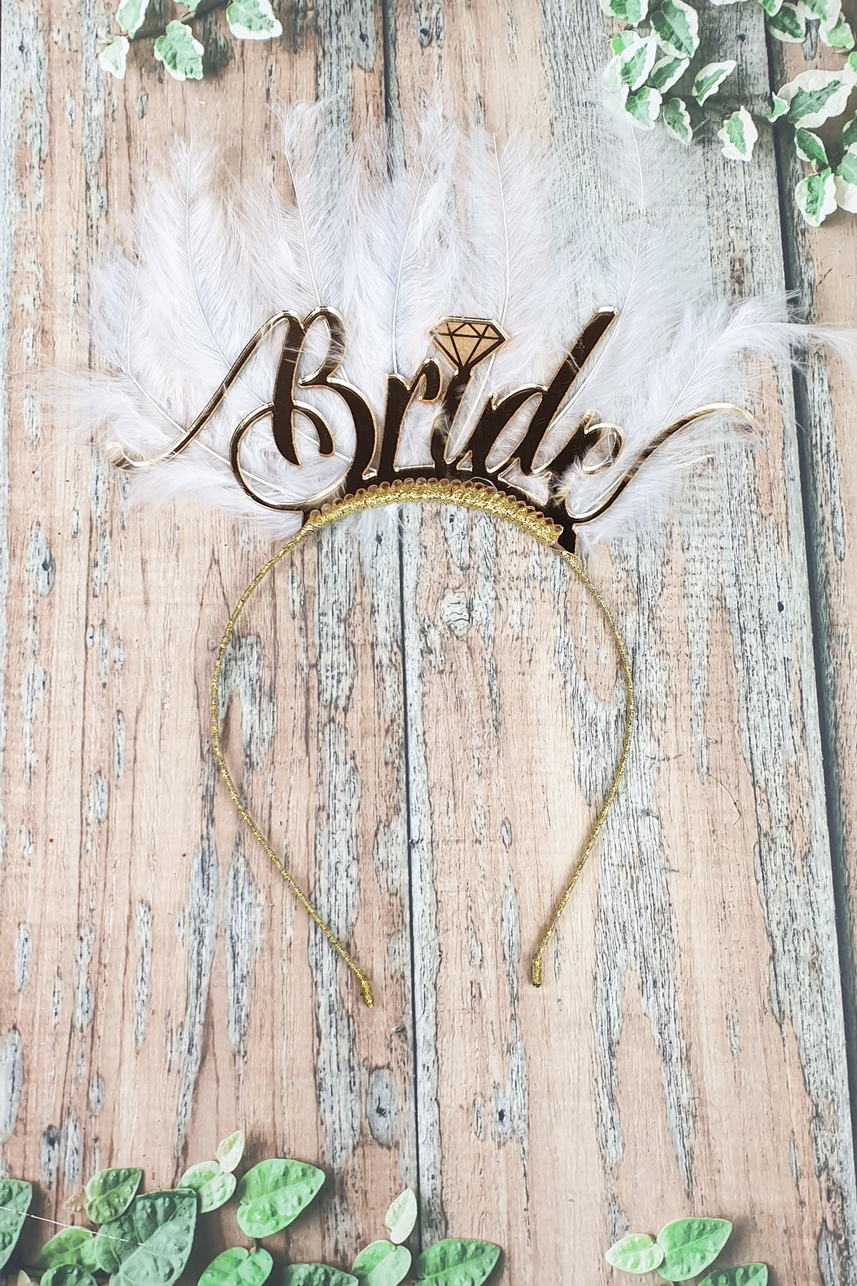 PEKSHOP Tüylü Bride Taç, Gelin Tacı, Altın 1