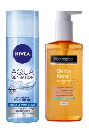 Nivea Aqua Canlandırıcı Temizleme Jeli 200ml ve Neutrogena Sivilce Karşıtı Yüz Temizleme Jeli 200 ml
