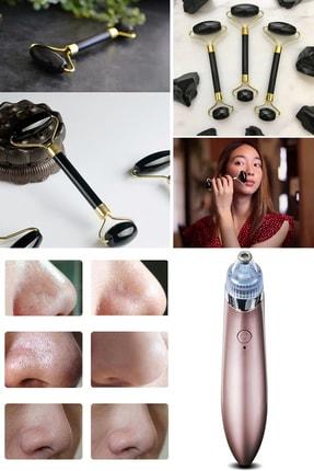 xolo 4 in 1 Vakumlu Şarjlı Yüz Temizleme +  Jade Roller Siyah 2'li Yeşim Taşı