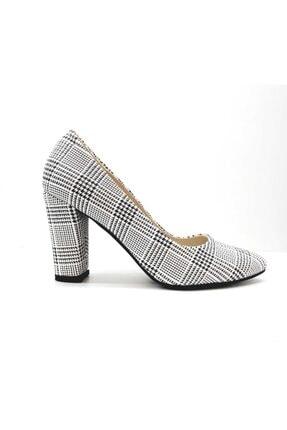 PUNTO Kadın Beyaz Ekose Klasik Stiletto Ayakkabı 462018z