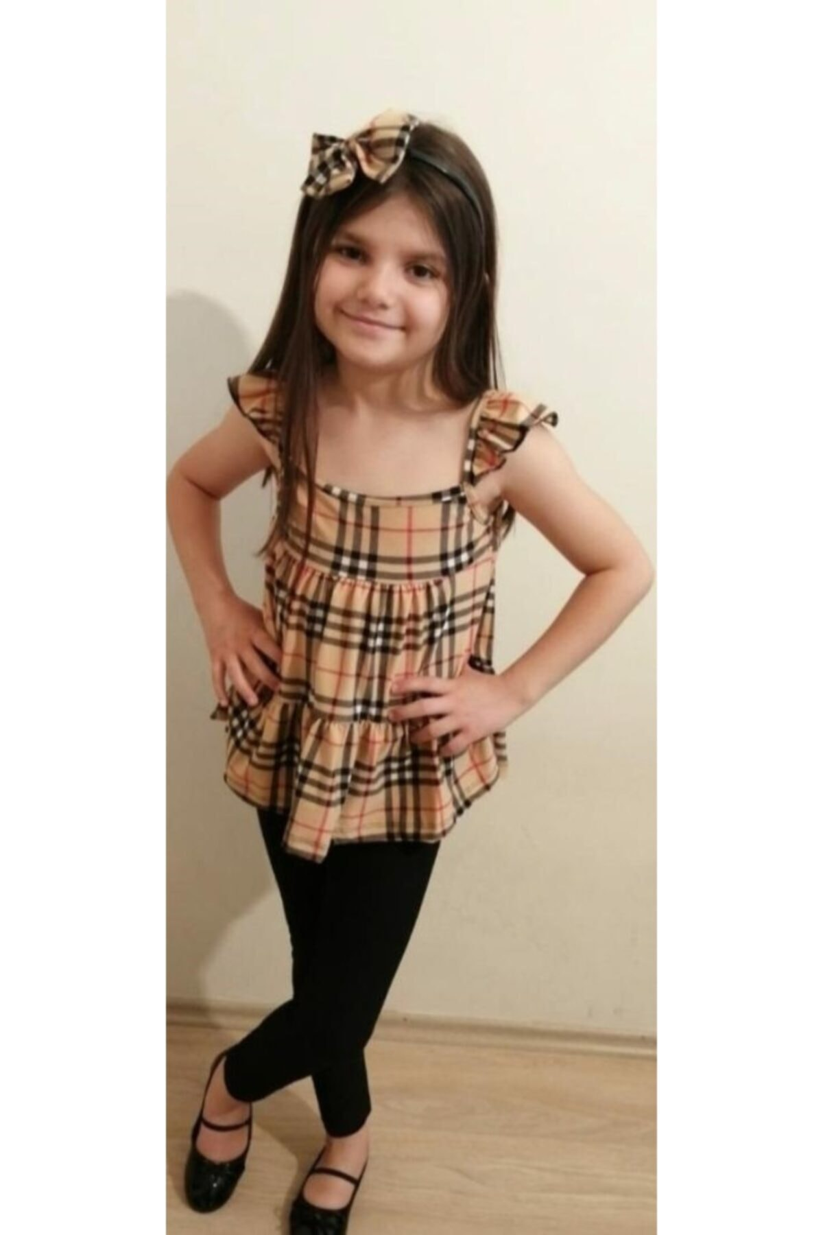 Penyem Kız Çocuk Kahverengi  Bandana Kombinli Cocuk Taytlı Takım 1