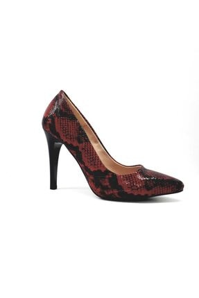 PUNTO Kadın  Siyah Kırmızı Desenli Klasik Stiletto Ayakkabı 452001z