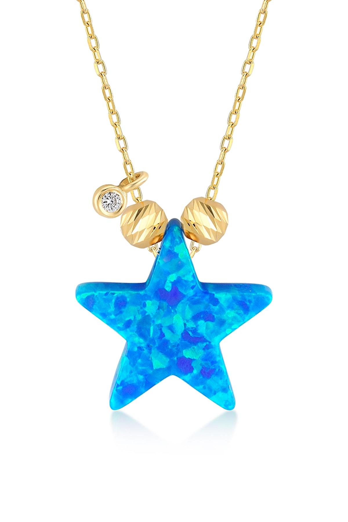 Gelin Pırlanta Kadın 14 Ayar Altın Pırlantalı Yıldız Opal Kolye GLN100666