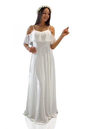 Carmen Ekru Askılı Uzun Abiye Elbise