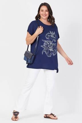 Siyezen Büyük Beden Lacivert Salaş Zambak Çiçek Baskılı T-shirt