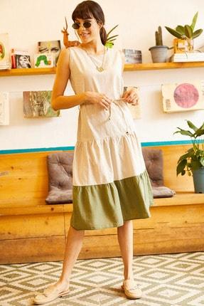 Olalook Kadın Haki Eteği Renkli Salaş Keten Elbise ELB-19001211