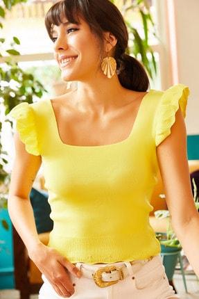Olalook Kadın Sarı Kolu Fırfırlı Yazlık Triko Bluz BLZ-19001035