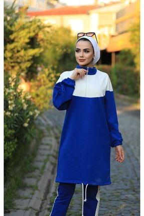 Stilin Bizde Kadın Mavi Tesettür Eşofman Takım