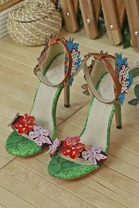 LUXXO Çiçek Desenli Özel Tasarım Topuklu Ayakkabı