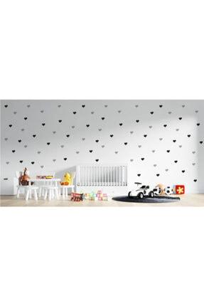 Matbaas 126 Adet Siyah-gri Kalp Sticker(duvar-mobilya-kapı-ajanda-defter-tablet-telefon-laptop)
