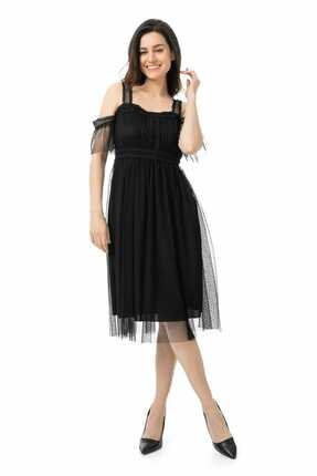 Sateen Kadın Siyah Dantelli Tül Elbise