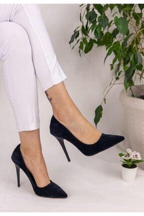 Erbilden Kadın Lacivert Süet Stiletto Ayakkabı