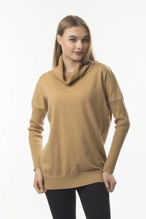 STAMINA Kadın Camel Degaje Yaka Bluz