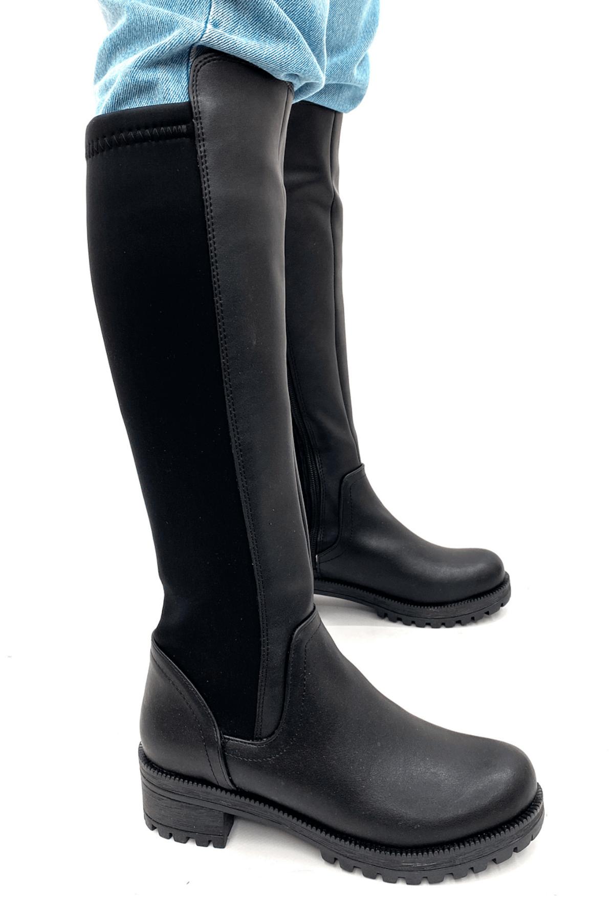 Stil Durağı Kadın Siyah Kalın Taban 3 cm Topuklu Sihirli Çizme 1