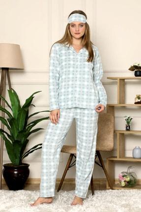 Pijamoni Kadın Yeşil Önden Düğmeli Polar Pijama Takımı