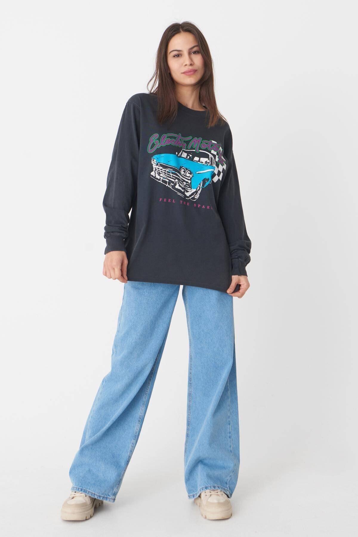 Addax Kadın Füme Baskılı Sweatshirt 1
