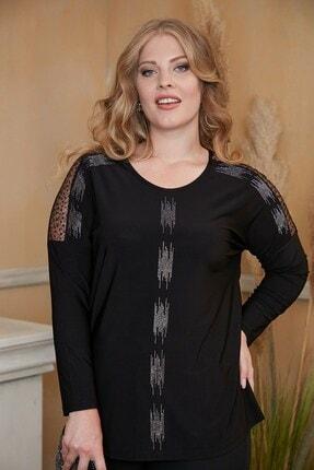 RMG Kadın Siyah Omuzları Pul İşlemeli Taş Baskılı Büyük Beden Bluz