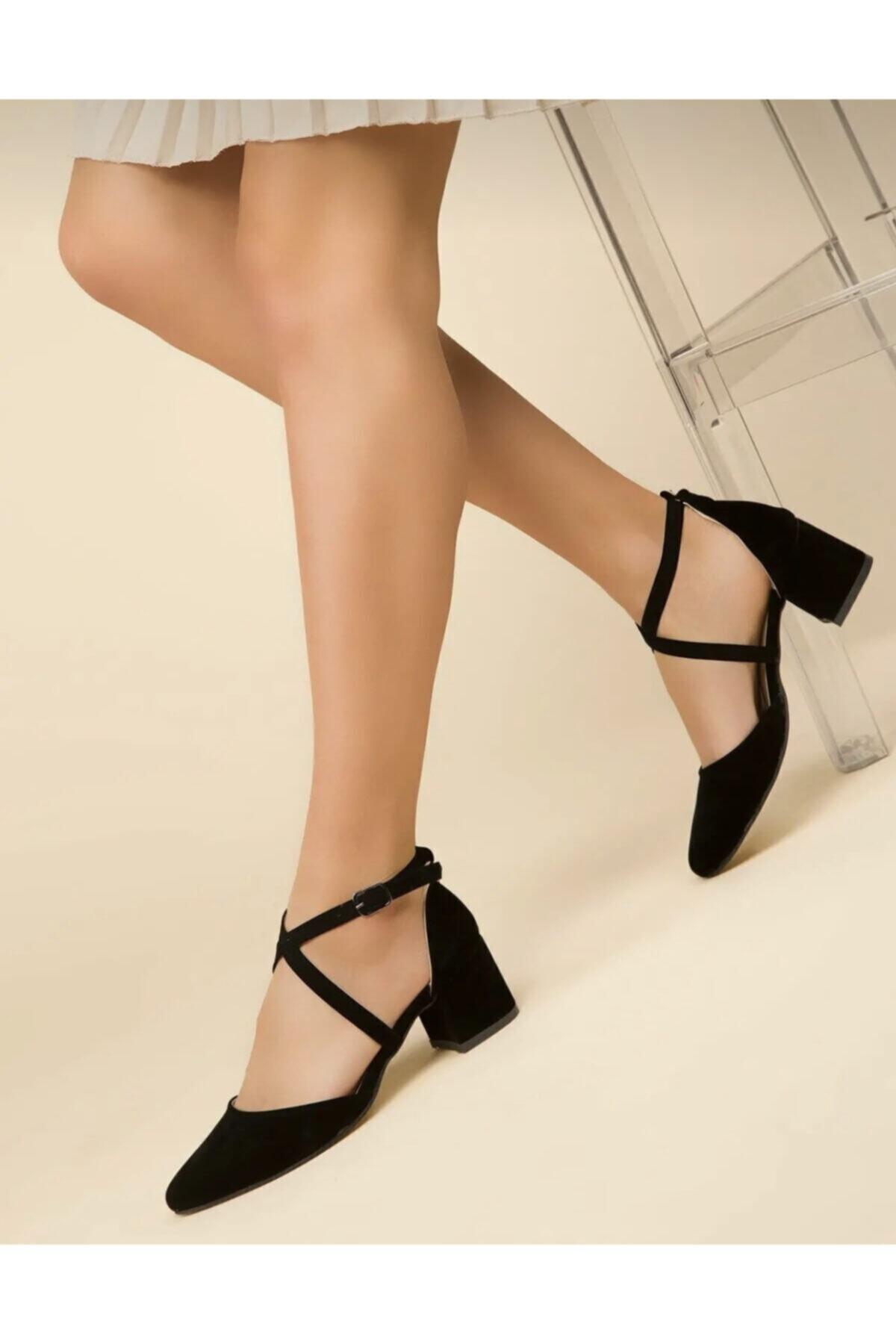FEMA Kadın Siyah Süet Çapraz Klasik Topuklu Ayakkabı 1