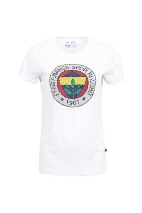 Fenerium Kadın Beyaz Mozaik Logo Baskı T-shirt