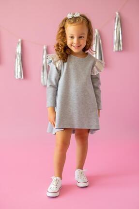 PixyLove Kız Çocuk Gri Elbise