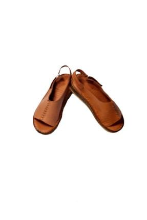 KAPAR Kadın Taba Hakiki Deri Sandalet