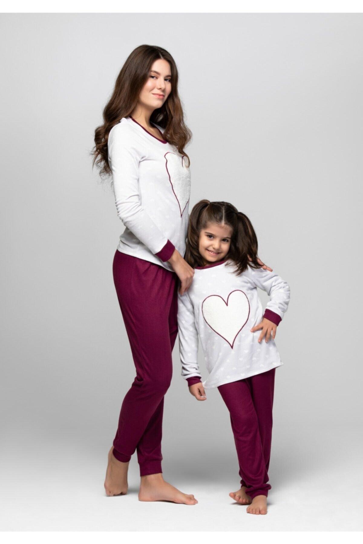 JUST BASIC Kadın Gri Lovely Anne Kız Pijama Takımı 1