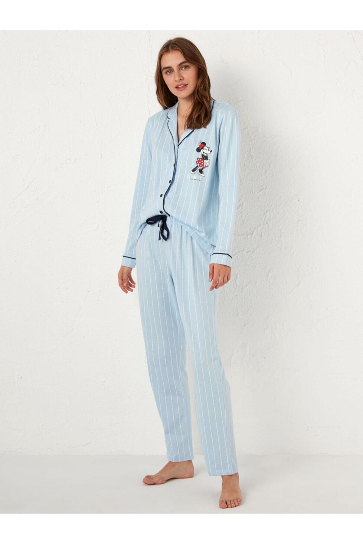 LC Waikiki Disney Kadın Mavi Pijama Takım 1