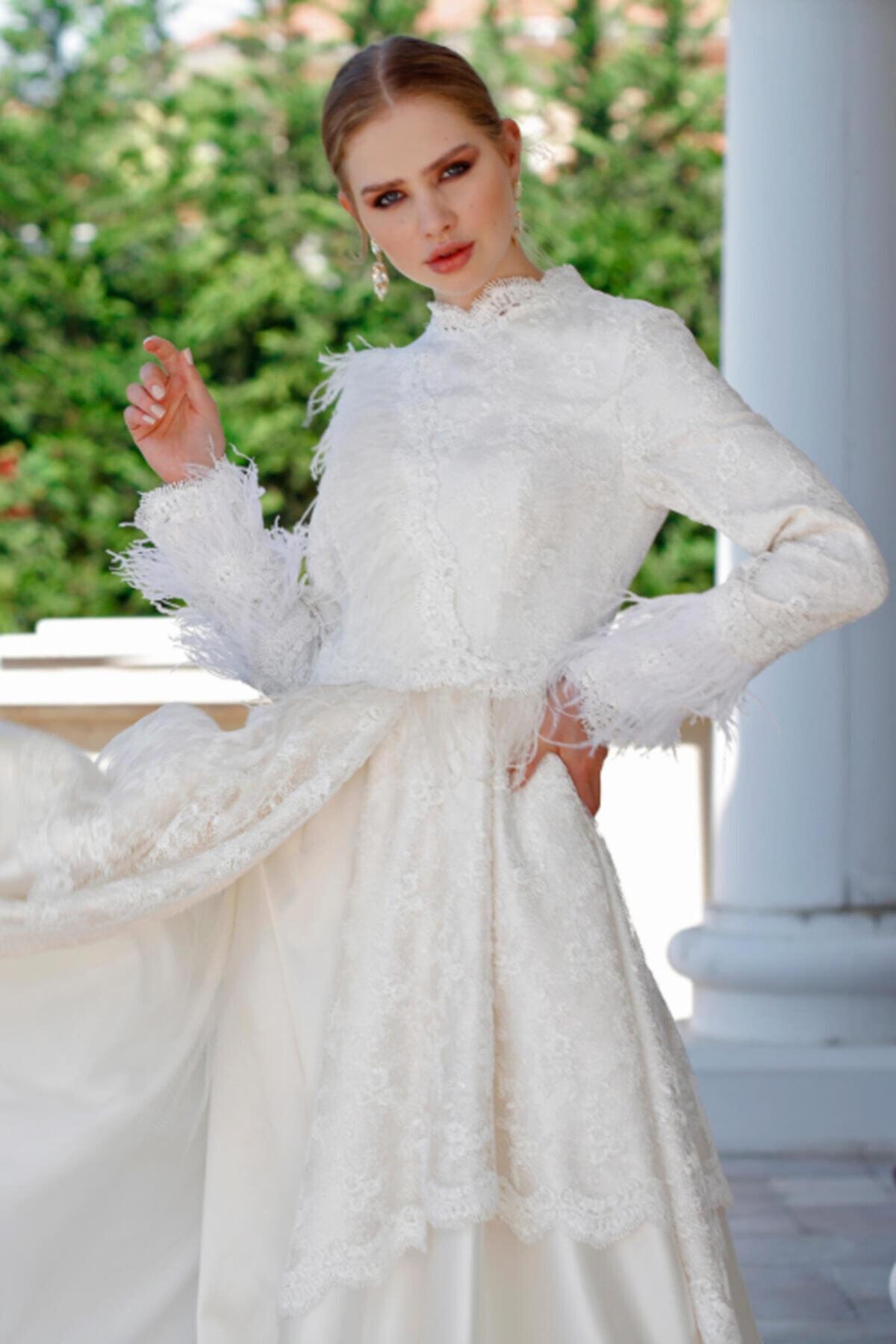 minel aşk Ekru Dantelli Prenses Gelinlik 2
