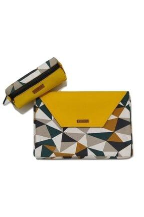 BAGRAM Kadın Renkli Lumpini Organizer Clutch Çanta Kalemlik Seti