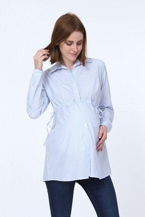 MYRA by LuvmaBelly Kadın Mavi Beli Bağlamalı Çizgili Hamile Gömleği
