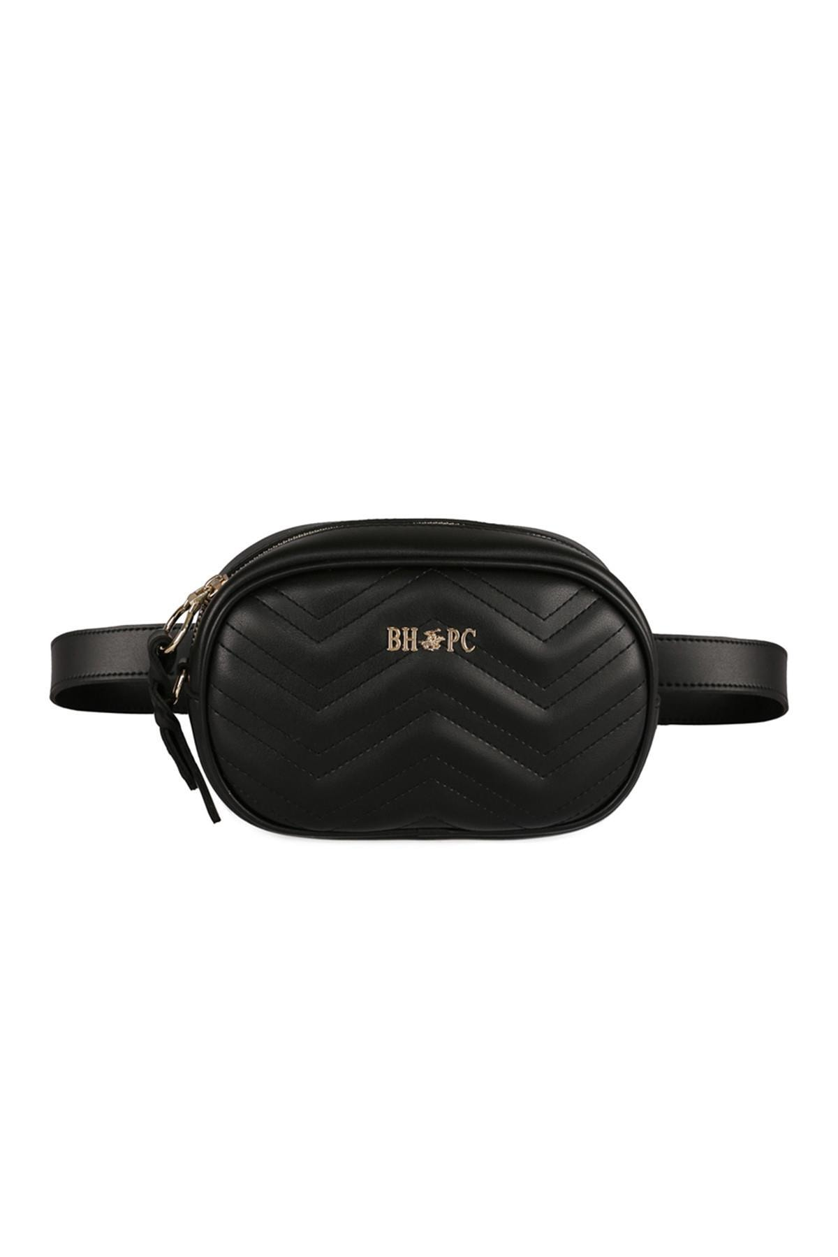 Beverly Hills Polo Club Kadın Zikzak Desenli Bel Çantası Siyah