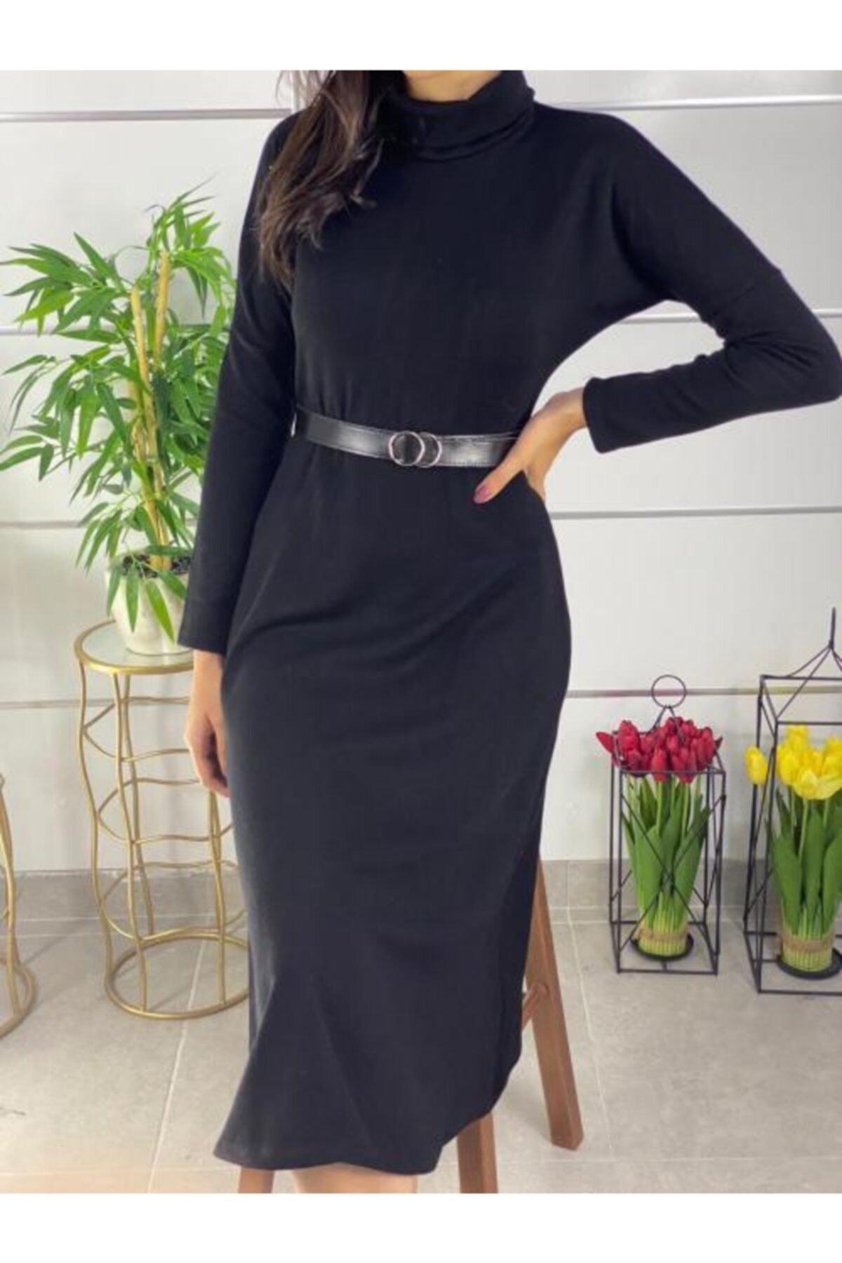 ELBİSENN Kadın Siyah Boğazlı Midi Boy Kemerli Triko Elbise 2