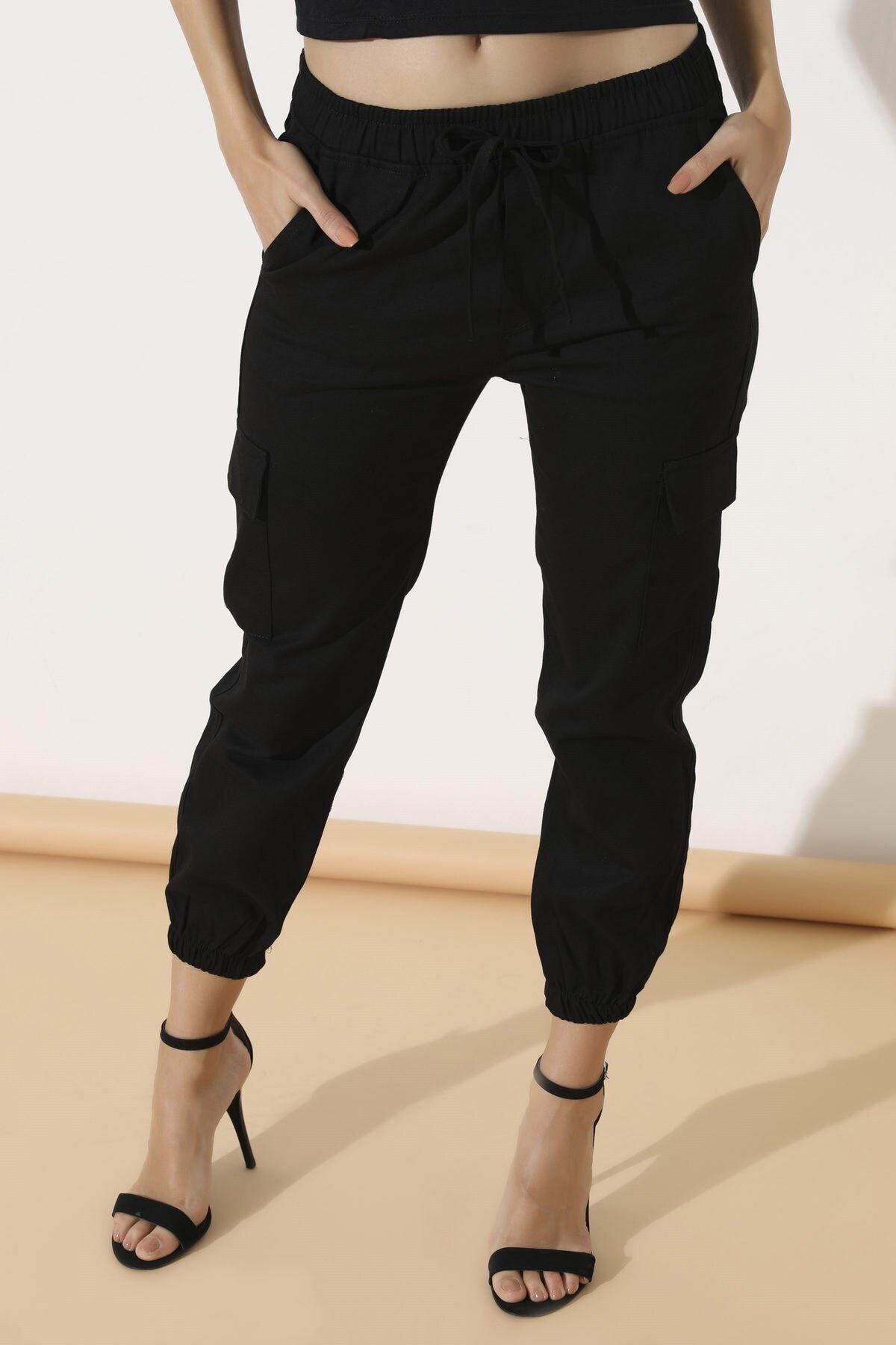 Arma Life Kadın Siyah Kargo Cep Pantolon 2