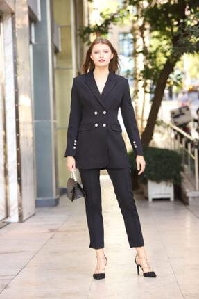 MANGOSTEEN Kadın Takım Elbise, Dört Düğmeli Uzun Ceket Ve Fit Pantolon,