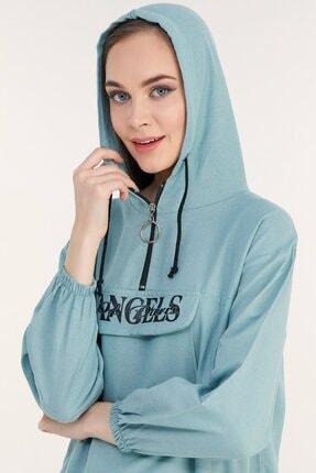 Fulla Moda Kadın Mint Beli Büzgülü Kapüşonlu Sweatshirt