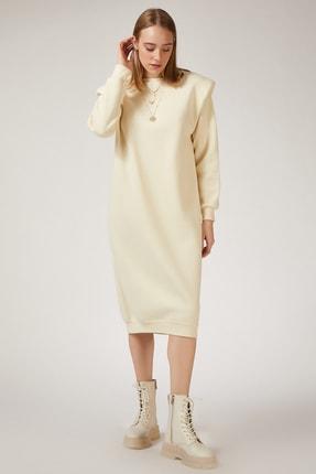 Happiness İst. Kadın Krem Vatkalı Polarlı Maxi Sweat Elbise BP00042