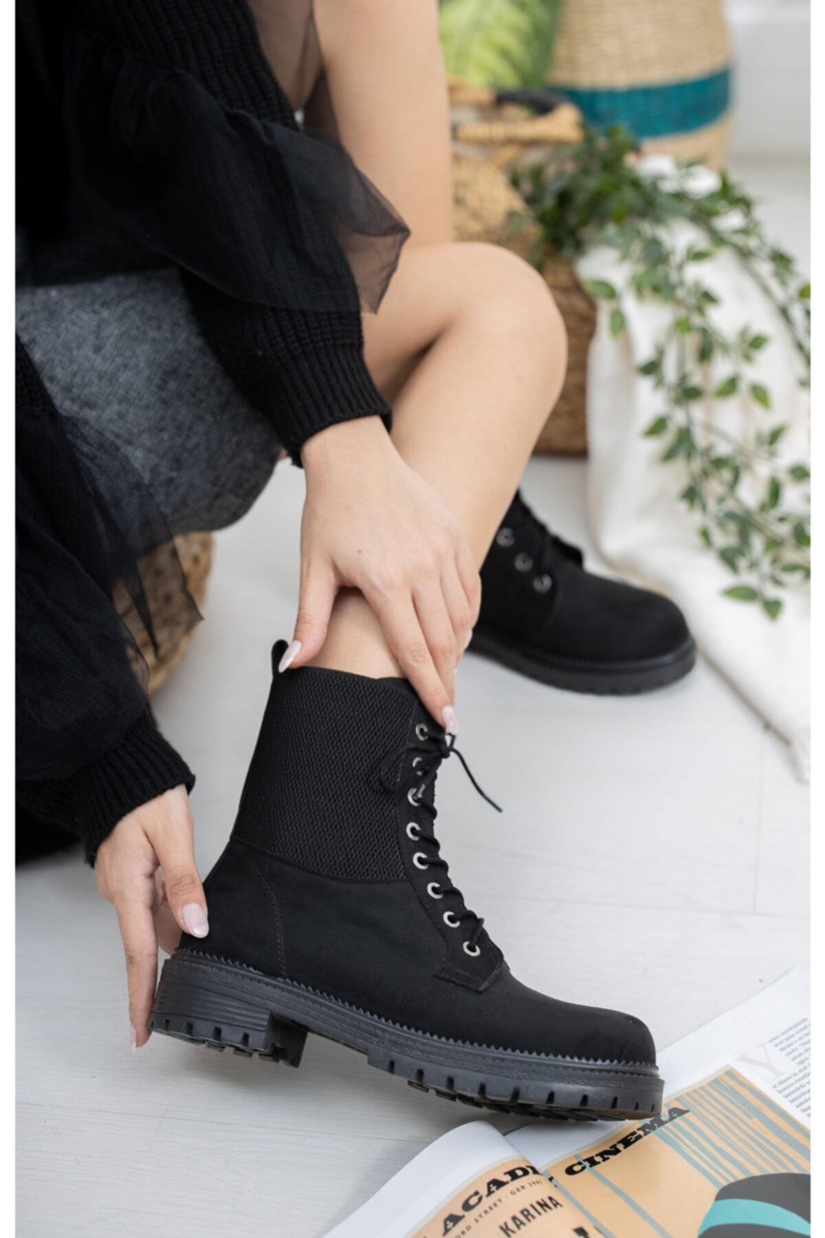 meyra'nın ayakkabıları Siyah Süet Lastikli Postal 2