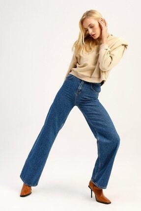 Quzu Kadın Mavi Yüksek Bel Bol Paça Kot Pantolon