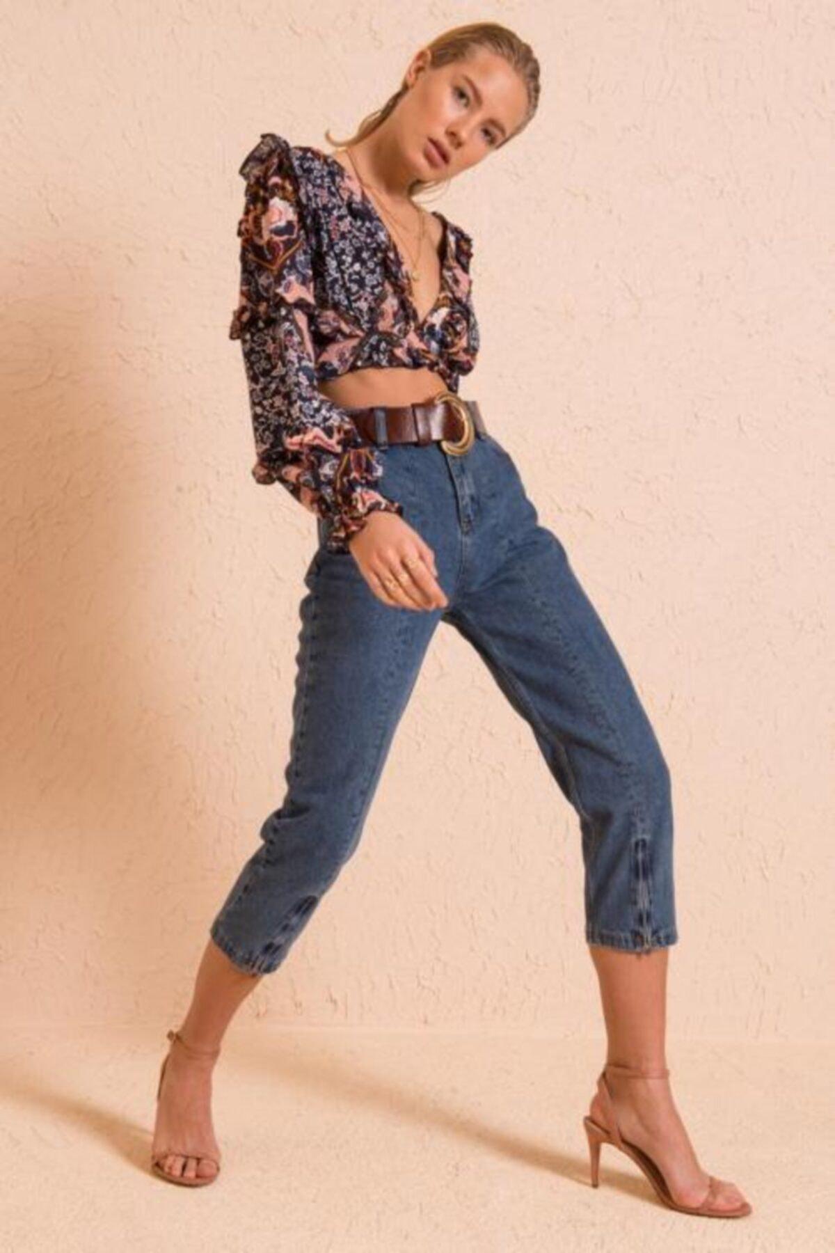 BSL Kadın Mavi Boru Paça Fermuar Detaylı Jean Pantolon 1