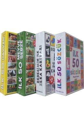 DIYTOY 4'lü Eğitim Seti ( Ilk 50 Sözcük + Ilk 50 Hayvan + Ilk 50 Sebze Meyve + Bebeğimin Ilk Zeka Kartları