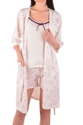 Nicoletta Ekru Kadın Şortlu Pijama Takım Sabahlık