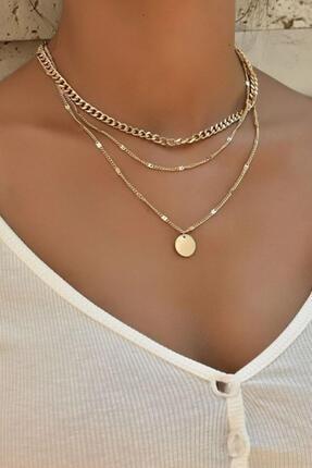 New Obsessions Kadın Altın Pullu Kolye Seti