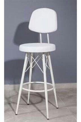 J&S QUALİTY Beyaz Mutfak Bahçe Cafe Bar Salon Yemek Masa Konforlu Metal Ayaklı Sandalye 75 cm