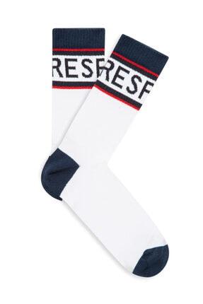 Mavi Unisex Respect Baskılı Beyaz Soket Çorap