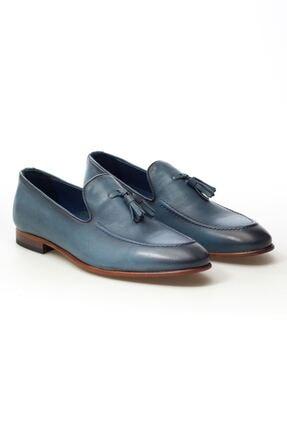 MARCOMEN Mavi Püskül Detaylı Hakiki Deri Bağcıksız Erkek Klasik Ayakkabı • A20eymcm0021