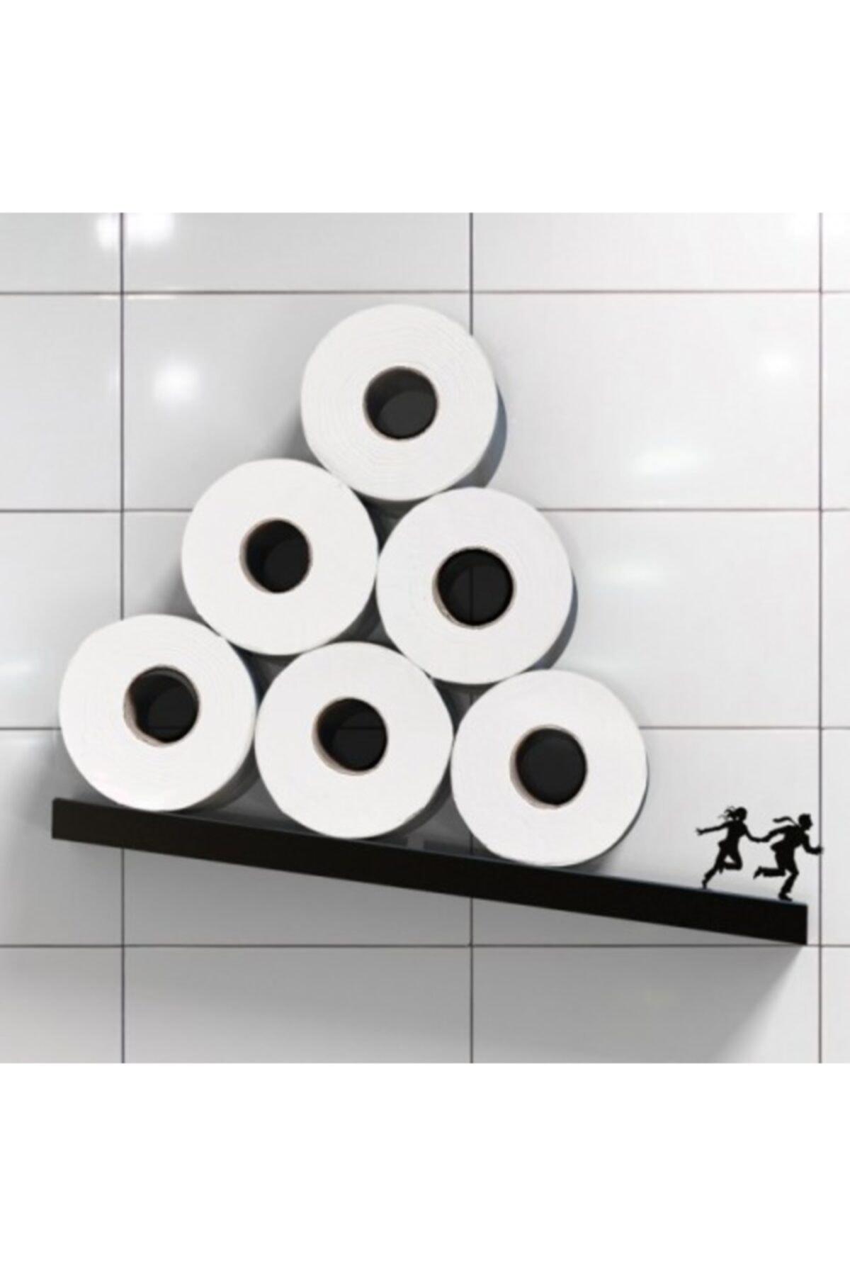 bluecape Koşan Çift Figürlü Ahşap Demir Wc Banyo Rulo Peçete Tuvalet Kağıdı Standı Rafı Kampanyalı 2