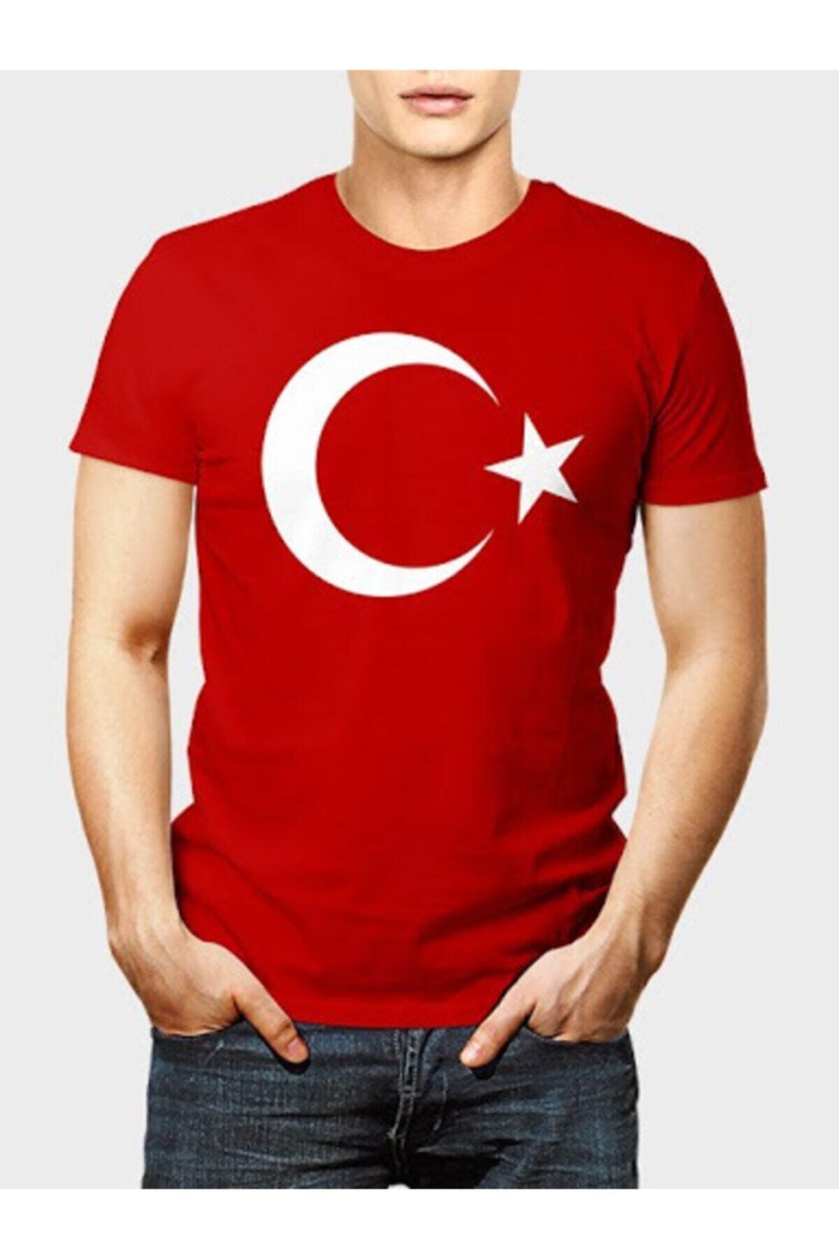 Zeplin Unisex Kırmızı Türk Bayraklı T-shirt 1